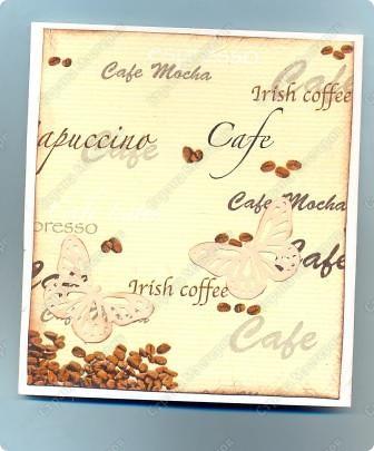"""Решила  здесь собирать свои кофейные открытки и карточки, которые появятся этим летом :)) Получила недавно от Марины (ШМыГа) и Светланы (Россиянка) именно то, что мне надо для кофейного творчества. СПАСИБО!!! И приступила :))) Это открытка (двойная).  Начало """"кофейного строительства"""" - маленький домик :))  фото 10"""