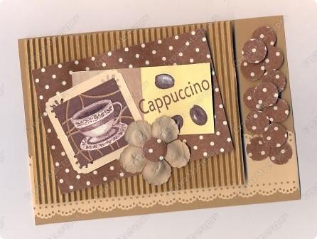 """Решила  здесь собирать свои кофейные открытки и карточки, которые появятся этим летом :)) Получила недавно от Марины (ШМыГа) и Светланы (Россиянка) именно то, что мне надо для кофейного творчества. СПАСИБО!!! И приступила :))) Это открытка (двойная).  Начало """"кофейного строительства"""" - маленький домик :))  фото 11"""