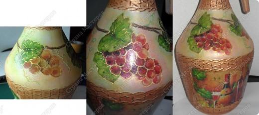 Всем приветики! Снова поступил заказ...сотворить бутылочку под домашнее..виноградное...Из предложенной тары была выбрана вот эта..2х-литровая посудинка...Давно я на неё смотрела...и вот - пришёл её час. Что получилось - смотрите... фото 8