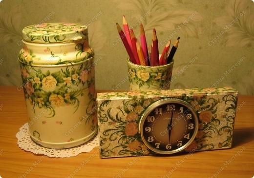 Любимые салфетки, их я использовала и в открытках    https://stranamasterov.ru/node/379531   фото №8         Подставка под горячее и баночка из- под чая для чая :) или еще для каких-нибудь сыпучестей. фото 5
