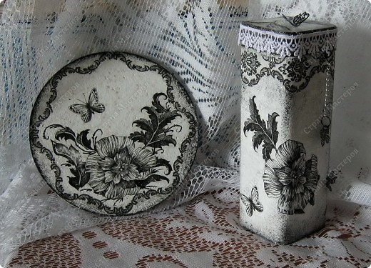 Любимые салфетки, их я использовала и в открытках    http://stranamasterov.ru/node/379531   фото №8         Подставка под горячее и баночка из- под чая для чая :) или еще для каких-нибудь сыпучестей. фото 1