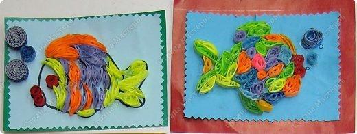 Продолжаем учиться крутить роллы, сочетать цвета, заполнять роллами контур рисунка, формируя из них различные фигурки - капли, ромбы, дольки, треугольники и т.д. фото 17