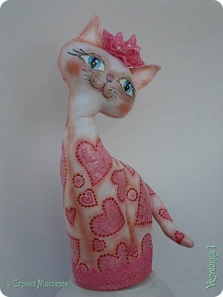 """Кошки не похожи на людей:  Кошки - это кошки.  Люди носят шляпы и пальто -  Кошки часто ходят без одёжки.  Кошки могут среди бела дня  Полежать спокойно у огня.  Кошки не болтают чепухи,  Не играют в домино и в шашки,  Не обязаны писать стихи, -  Им плевать на разные бумажки...  Людям не сойти с протоптанной дорожки,  Ну, а кошки - это кошки!              Борис Заходер  Здравствуйте все, кто заглянул в гости! Весна наступила и кошечки прихорашиваются, ждут своих котиков. Это кошечка """" Сердечная"""". Она украсила себя разными сердечками. фото 3"""