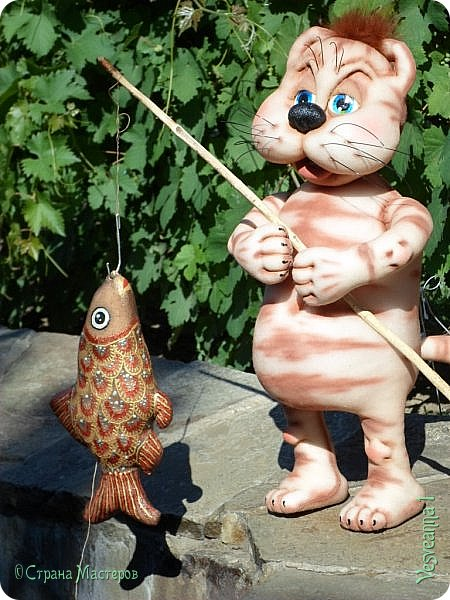 Здравствуйте!!! Вот такого кота-рыболова сшила я из колготок. фото 2