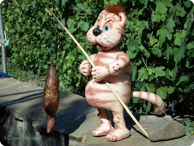 Здравствуйте!!! Вот такого кота-рыболова сшила я из колготок. фото 3