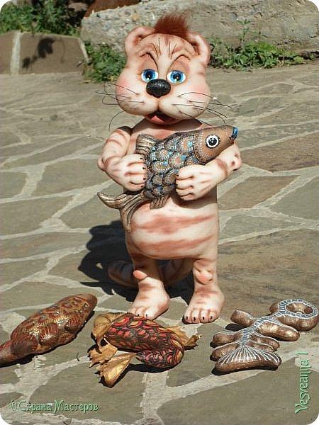 Здравствуйте!!! Вот такого кота-рыболова сшила я из колготок. фото 4