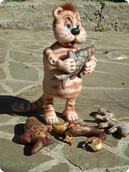 Здравствуйте!!! Вот такого кота-рыболова сшила я из колготок. фото 5