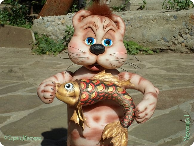 Здравствуйте!!! Вот такого кота-рыболова сшила я из колготок. фото 10