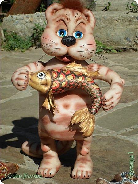 Здравствуйте!!! Вот такого кота-рыболова сшила я из колготок. фото 9