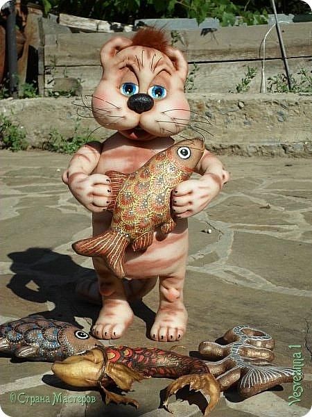 Здравствуйте!!! Вот такого кота-рыболова сшила я из колготок. фото 12