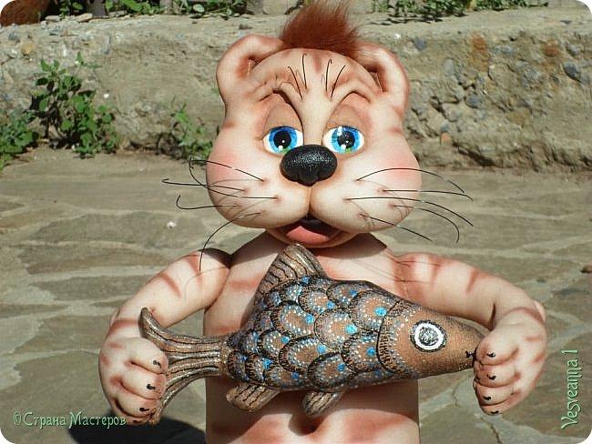 Здравствуйте!!! Вот такого кота-рыболова сшила я из колготок. фото 11