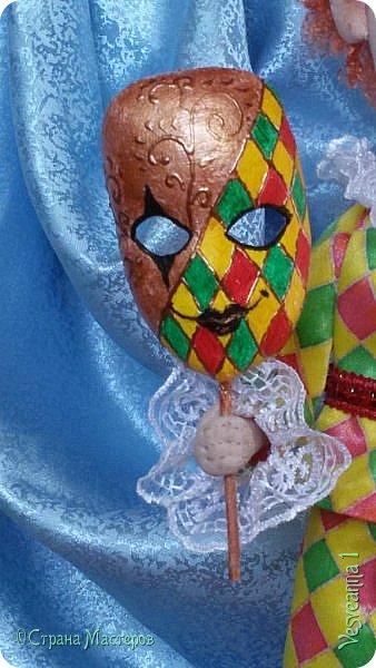 Здравствуйте все мои гости! Пробую себя в шитье текстильных кукол. Вот такой Арлекин появился у меня после мастер-класса Т. Коковихиной. фото 4
