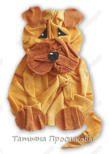 Собачка из жатой ткани