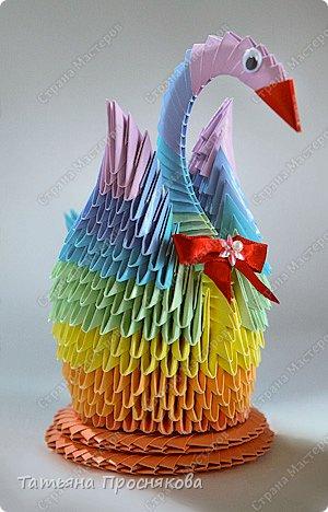 Мастер-класс Оригами китайское модульное Радужный лебедь Бумага