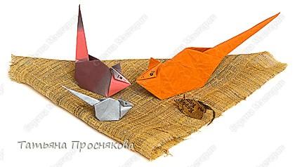 Оригами: Мышь с длиным хвостом