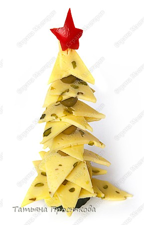 Кулинария Новый год Рецепт кулинарный Ёлочка из сыра и оливок Продукты пищевые
