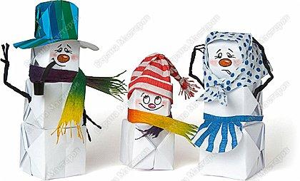 Мастер-класс Новый год Моделирование конструирование Оригами Надувные снеговички Бумага Бумага гофрированная