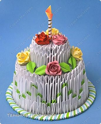 Мастер-класс Поделка изделие День рождения Оригами китайское модульное Торт на День рождения низкокалорийный Бумага