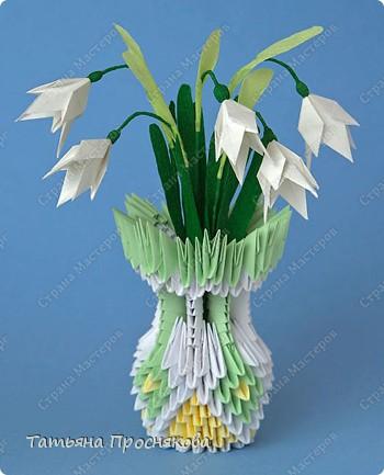 Оригами модульное: Подснежники в вазочке