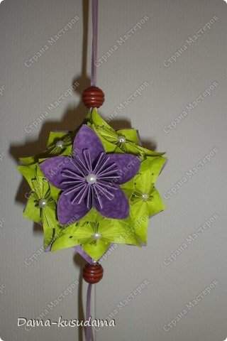 Кусудама фиолетово-зеленая. фото 4
