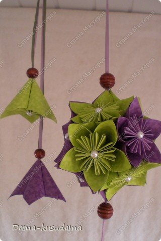 Кусудама фиолетово-зеленая. фото 6
