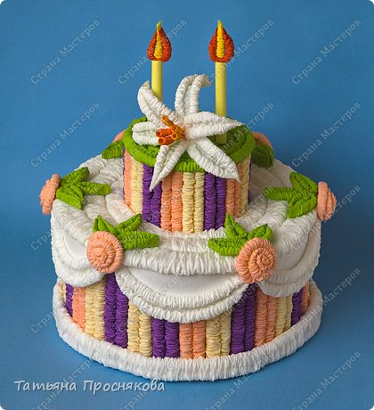 Мастер-класс День рождения Гофротрубочки Праздничный торт из гофротрубочек Бумага гофрированная