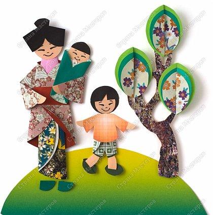 Мама с сыновьями. Оригами из кругов.