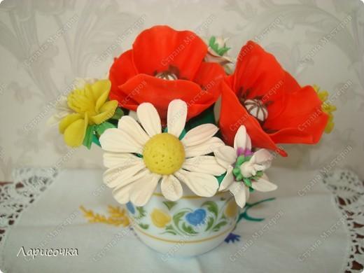 Не дари мне цветов покупных. Подари мне букет полевых..... Вот и я отважилась сделать себе букетик из полевых цветочков!!! Сколько радости вызвала у меня эта работа!!!!! Одно удовольствие работать с пластикой!!! фото 8