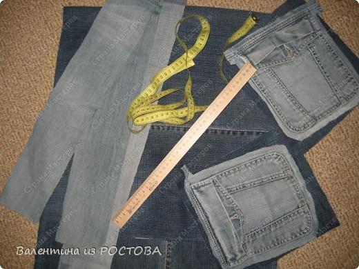 Гардероб Шитьё Спортивная сумка из старых джинсов Ткань фото 2