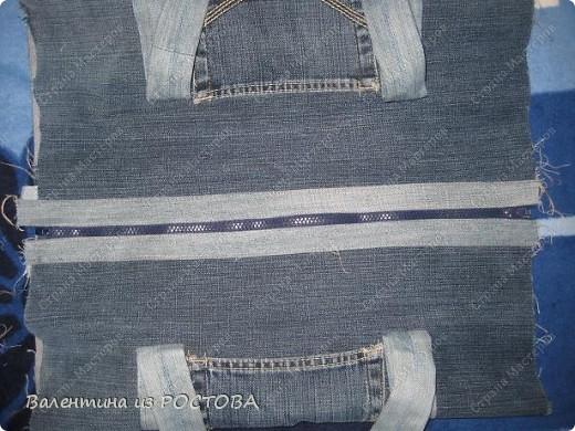 Гардероб Шитьё Спортивная сумка из старых джинсов Ткань фото 5