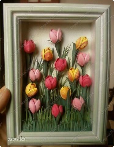 Такие тюльпаны мы делали на курсах. Цветок размером 1,5 см, со стебельком 4-5см получается фото 1