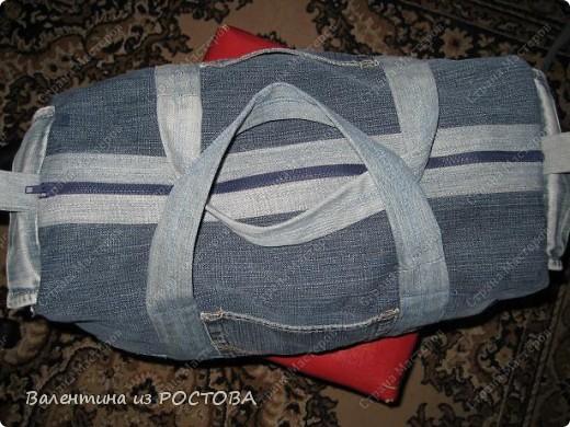 Гардероб Шитьё Спортивная сумка из старых джинсов Ткань фото 7