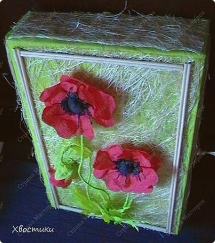 Моей сестре сегодня день рождения. Свой подарок (скатерть ручной работы) я решила вложить в коробку, сделанную своими руками. Вот такая у меня получилась коробка... но коробка не простая... она превращается... в панно!!!  Сейчас покажу поподробней: фото 3
