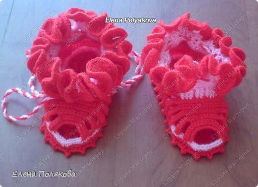 """Вот такие интересные пинеточки-сандалики с 5 перемычками я вяжу для малышей. """"Лето-красное"""" фото 1"""