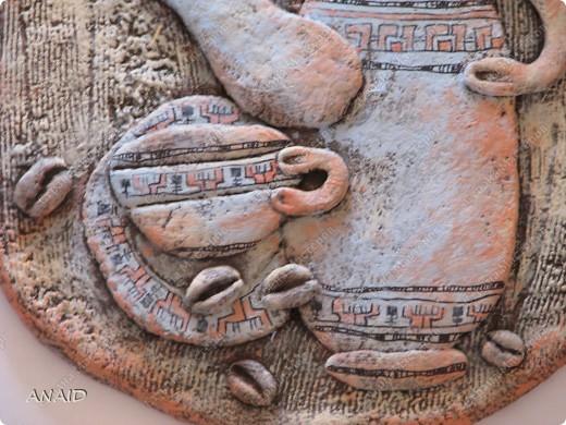 Поделка изделие Лепка Роспись  чашечка кофе и райские птички в апельсиновом саду  панно Тесто соленое фото 2