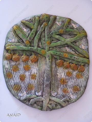 Поделка изделие Лепка Роспись  чашечка кофе и райские птички в апельсиновом саду  панно Тесто соленое фото 4