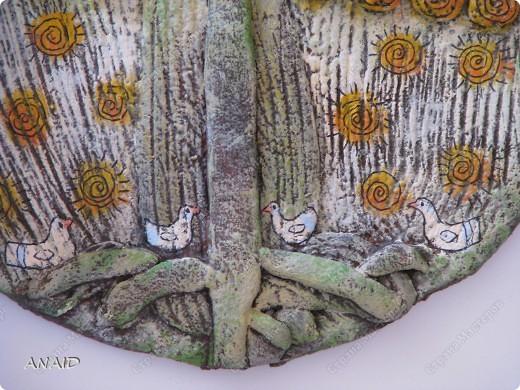 Поделка изделие Лепка Роспись  чашечка кофе и райские птички в апельсиновом саду  панно Тесто соленое фото 5