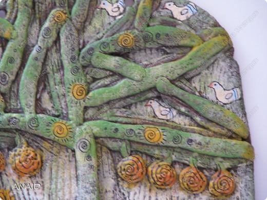 Поделка изделие Лепка Роспись  чашечка кофе и райские птички в апельсиновом саду  панно Тесто соленое фото 6