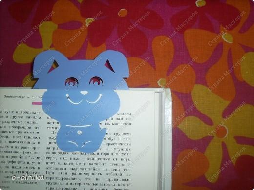Идею этой закладки мне подарила Голубка. К новому учебному году для ребенка сделайте забавный подарок. Голубой щенок смело охраняет нужую страничку и не  даёт ей затеряться. фото 1