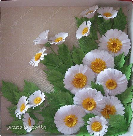 Картина панно рисунок Квиллинг Ромашки Бумажные полосы фото 1