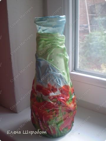Декор предметов Декупаж Маковая ваза Бутылки стеклянные Гуашь Салфетки фото 3