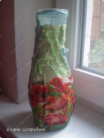 Декор предметов Декупаж Маковая ваза Бутылки стеклянные Гуашь Салфетки фото 1