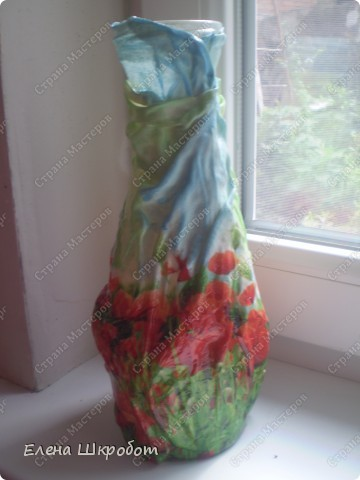 Декор предметов Декупаж Маковая ваза Бутылки стеклянные Гуашь Салфетки фото 4