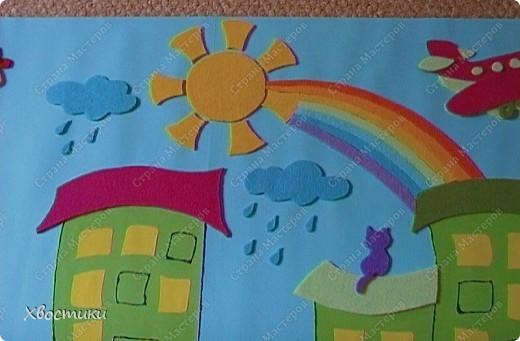Вот такое я сделала панно для мальчишек нашей группы. Решили оформить стенки для мальчишек и девчонок. Панно размером 70 на 100 см. Основа - два листа картона (голубой и зелёный) формата ватмана, приклеенные на плотный картон от упаковки мебели (выпросила в мебельном магазине). фото 6