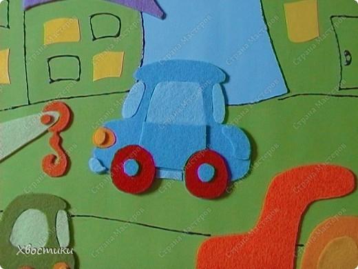 Вот такое я сделала панно для мальчишек нашей группы. Решили оформить стенки для мальчишек и девчонок. Панно размером 70 на 100 см. Основа - два листа картона (голубой и зелёный) формата ватмана, приклеенные на плотный картон от упаковки мебели (выпросила в мебельном магазине). фото 9