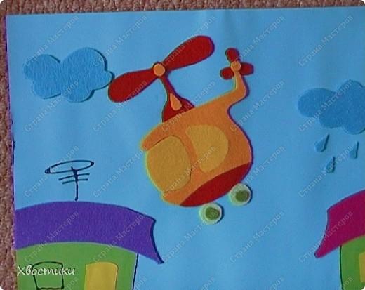 Вот такое я сделала панно для мальчишек нашей группы. Решили оформить стенки для мальчишек и девчонок. Панно размером 70 на 100 см. Основа - два листа картона (голубой и зелёный) формата ватмана, приклеенные на плотный картон от упаковки мебели (выпросила в мебельном магазине). фото 11