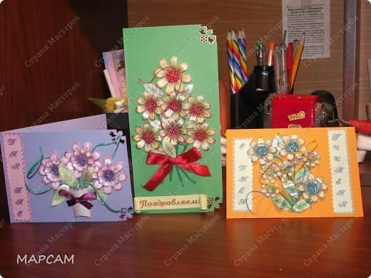 В ходе нашей работы должны получиться вот такие открыточки. Их можно сделать к любому памятному дню. Прошу не судить строго - это мой первый МК. фото 13