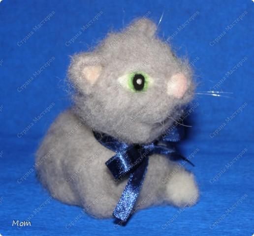 Котик свалян из шерсти. Усы и бровки из мононити. фото 3