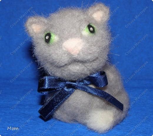 Котик свалян из шерсти. Усы и бровки из мононити. фото 1