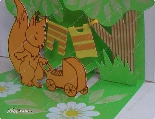 """Вот такую открыточку я сделала в подарок молодой маме на её день рождения. С обратной стороны будет стихотворение """"Счастье - это просто..."""" (http://stranamasterov.ru/node/76686) Спасибо, Лариса, за стихотворение! фото 2"""